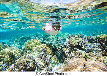 Woman snorkeling - Underwater portrait of woman snorkeling...