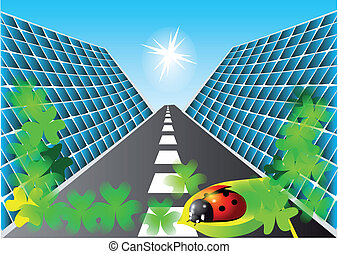 solar panels - solar cells, the road and the ladybug