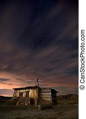 Shepherd hut at desert night