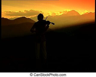 Violinist silhouette start - Violinist female silhouette at...