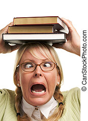 Screaming Girl and Books - Attractive Woman with Her Books...