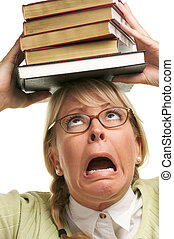 Frantic Girl with Books - Attractive Woman with Her Books...