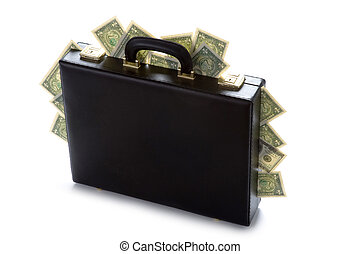 case full of money - briefcase with american dollars...