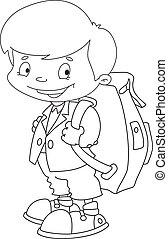 schoolboy set outlined