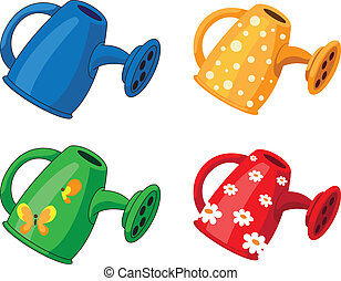 watering can set - illustration of a watering can set