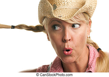 Cowgirl plays with Braids