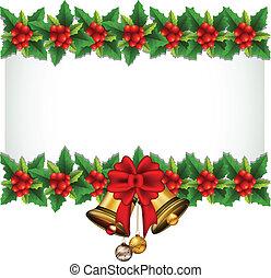 bellezza, agrifoglio, Natale, cornice