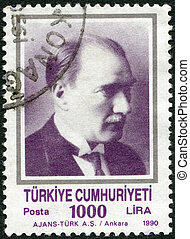 TURKEY - 1990: shows Kemal Ataturk (1881-1938) - TURKEY -...