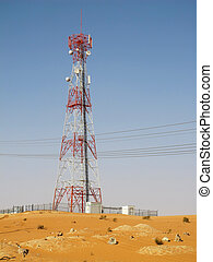 Red sand desert - Telecommunication antenna near Riyadh,...