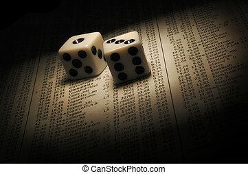 Betting on Stocks - Dice on a page of stock prices....