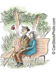 Elderly couple in the park - elderly couple are sitting on...
