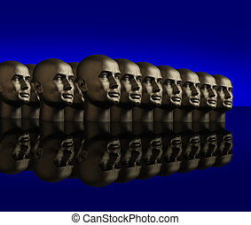 Metallic heads lined up on a reflective black surface -...