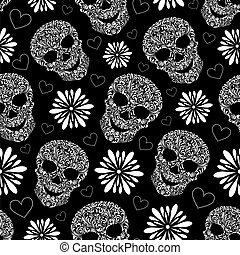 abstract floral skulls - Vector illustration of seamless...