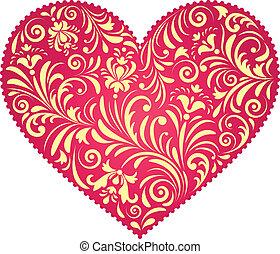floral valentine heart - Vector illustration of floral...
