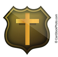 religious shield illustration design over a white background