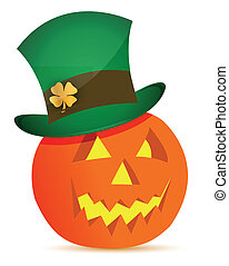 halloween pumpkin and saint patricks hat