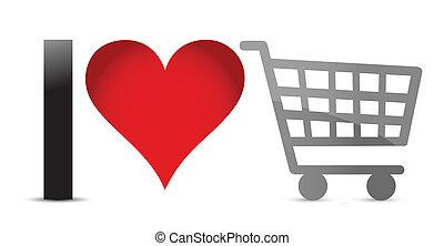 I love shopping illustration design over a white background