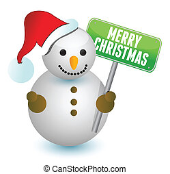 snowman and merry christmas sign
