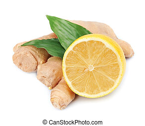 Lemons and ginger root on a white background