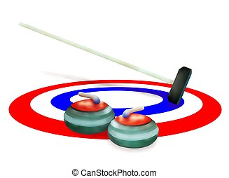 A Collection of Curling Stones on Ice - Winter Sport : Hand...