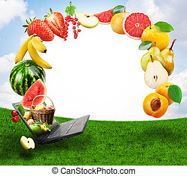 fruits  - Collage of fresh fruits emerging from laptop