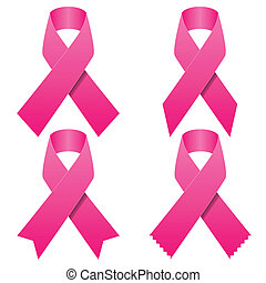 Set of pink breast cancer ribbons - Illustration set of pink...