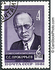 USSR - 1981: shows Sergei Prokofiev (1891-1953), Composer -...