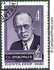 USSR - 1981: shows Sergei Prokofiev (1891-1953), Composer -...