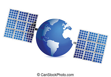 globe satellite illustration design over a white background