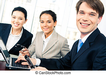 Happy business people - Portrait of confident boss looking...