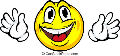 Yellow smiling face with hands in cartoon style for emotion...