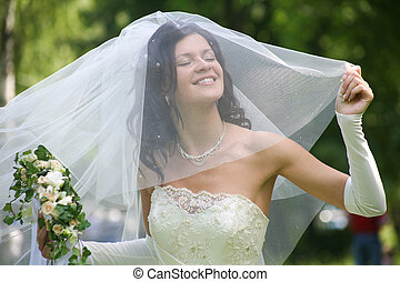 Happy bride - Portrait of beautiful happy bride in wedding...
