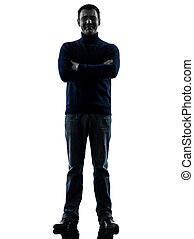 man smiling friendly  silhouette full length