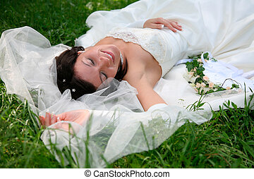 Enjoying - Photo of enjoying woman with closed eyes lying on...