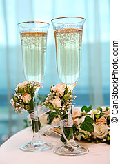 Champagne flutes - Image of champagne flutes on the table...