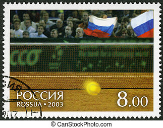 RUSSIA - CIRCA 2003: A Stamp printed in Russia shows Tennis...
