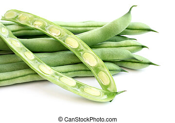 String beans on a white background