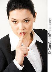 Business secret - Portrait of responsible secretary showing...