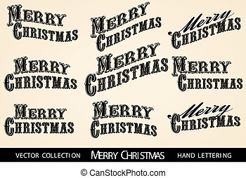 Selection Merry Christmas lettering - Vintage Victorian...