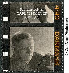 circa, selo, Dinamarca, -, diretor, dreyer, TH, (1889-1968),...