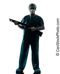 doctor surgeon man with face mask holding shotgun silhouette