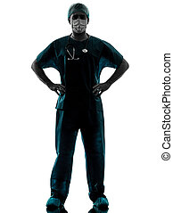 doctor surgeon man with face mask silhouette