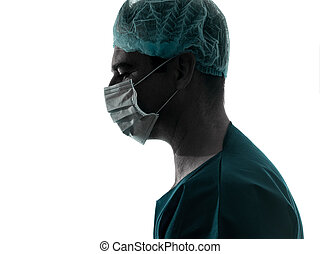 doctor surgeon man profile portrait with face mask silhouette
