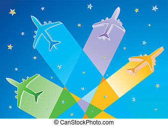 3D Vector Airplanes - Gradient Color 3D Vector Airplanes and...
