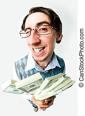 Rich man - Photo of happy man holding packs of dollars in...