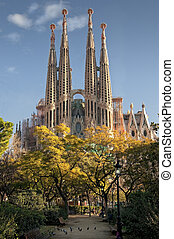 Sagrada Familia - Catedral of Antoni Gaudi in Barcelona,...