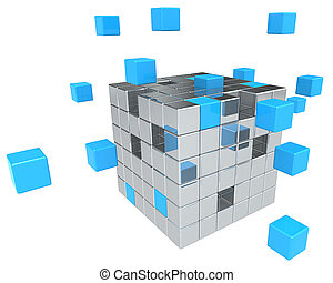 Building Blocks. - Abstract cube assembly. Metal and Blue.