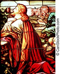 Stained glass - jesus praying stained glass window