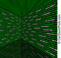 Two walls of binary code - Two walls of green and white...