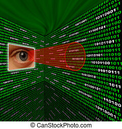 Spyware eye scanning binary code with red sightline -...